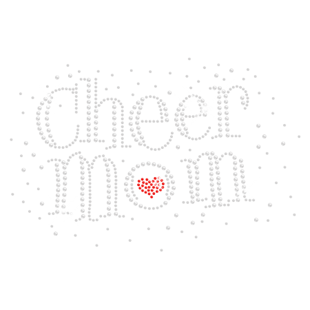 Glittering Cheer Mom Iron on Rhinestone Design