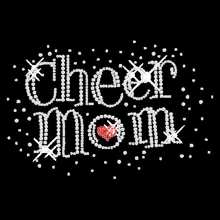 Glittering Cheer Mom Iron on Rhinestone Design