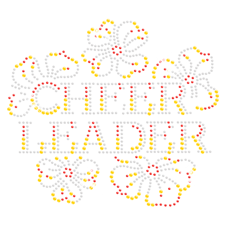 Floral Hotfix Bling Cheer Leader Rhinestone Transfer
