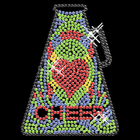 Colorful Hotfix Rhinestone Crystal Cheer Cup Transfer Design