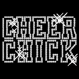 Clear Crystal Cheer Chick Hotfix Rhinestone Transfer