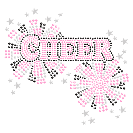 Iron on Glitter Cheer Rhinestone Bling Transfer