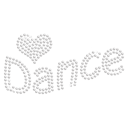 Iron on Clear Crystal Dance with Heart Rhinestone Transfer