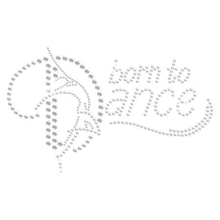 Custom Transfer Born to Dance Clear Iron on Rhinestone Pattern