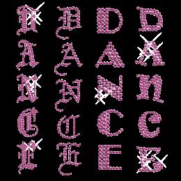 Hotfix Crystal Dance Lettering Transfer Rhinestone Design