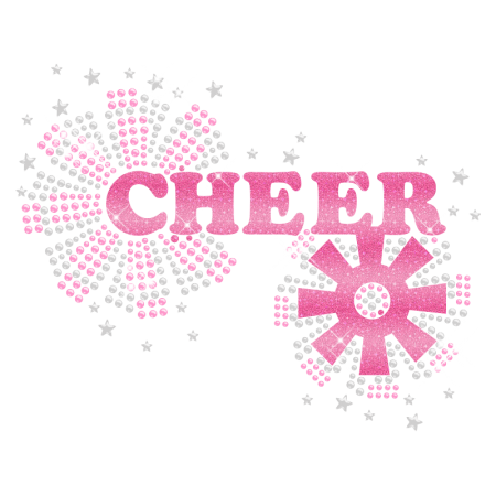 Shining Sweet Pink Cheer Hotfix Glitter Motif for Clothing