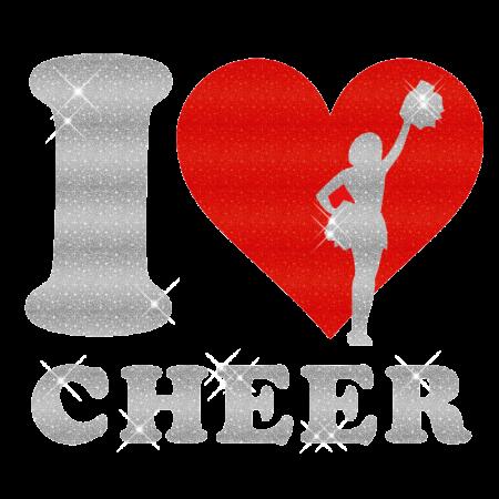 I Love Cheer Iron On Holofoil Motif Design