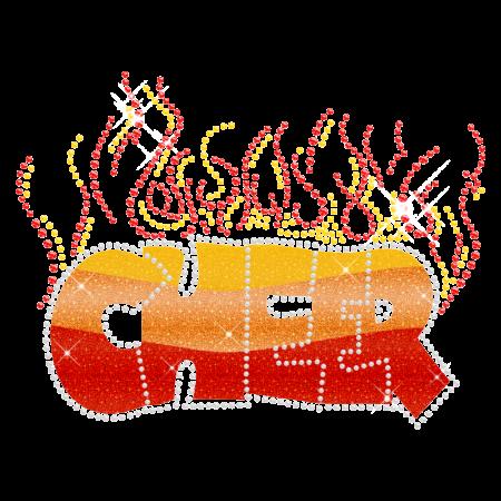 Shining Cheer Flames Hotfix Glitter Motif for t shirt