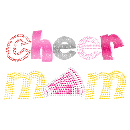 Iron on Cheer Mom Megaphone Hotfix Transfer