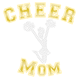 Bling Rhinestone Glitter Cheer Mom Hotfix Transfer