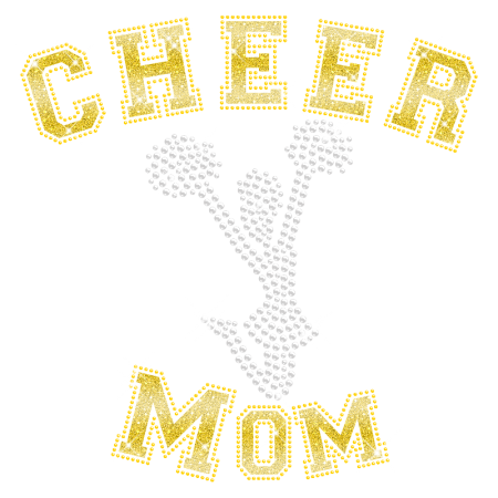 Bling Rhinestone Glitter Cheer Mom Hotfix Transfer