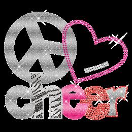 Shining Love Peace Cheer Crystal Iron On Transfer