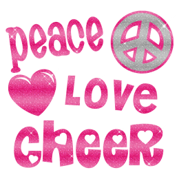 Shimmering Peace Love Cheer Iron On Glitter Motif