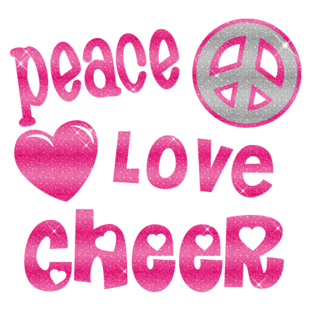 Shimmering Peace Love Cheer Iron On Glitter Motif