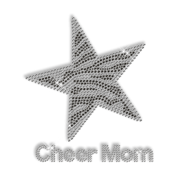 Custom Sparkling Cheer Mom and Star in Black and White Rhinestone Iron on Transfer Design for Shirts