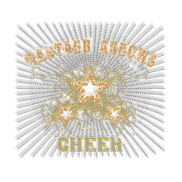 Custom Big Shinning WANTAGH ARROWS CHEER Yellow Rhinestone Iron on Transfer Design for Shirts