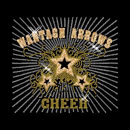 Custom Big Shinning WANTAGH ARROWS CHEER Yellow Rhinestone Iron on Transfer Design for Shirts