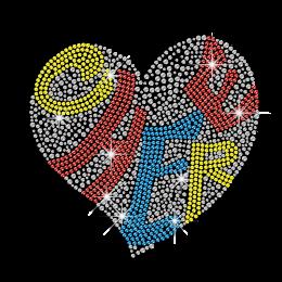 Shining Cheer Heart Hot Fix Rhinestone Motif