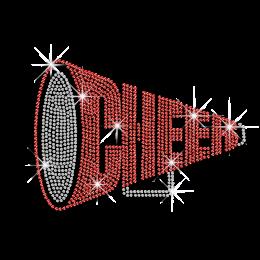 Cheap Shining Word of Cheer in Horn Shape Bling Hotfix Design