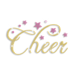 Sparkle Word of Cheer and Pink Stars Rhinestone Iron on Motif