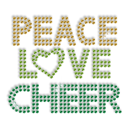 Clear Shining Peace Love Cheer Hot-fix Sequin Design