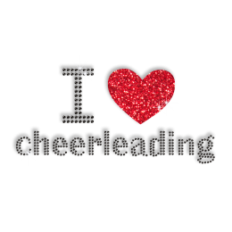 Sparkling I Love Cheerleading Bling Iron ons