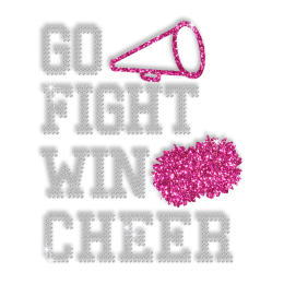 Go Fight Win Cheer Rhinestone and Glitter Iron ons