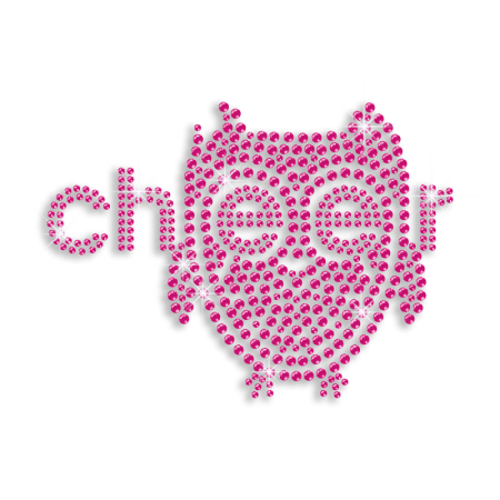 Rose Pink Cheer with Eagle Hot-fix Rhinestone Design