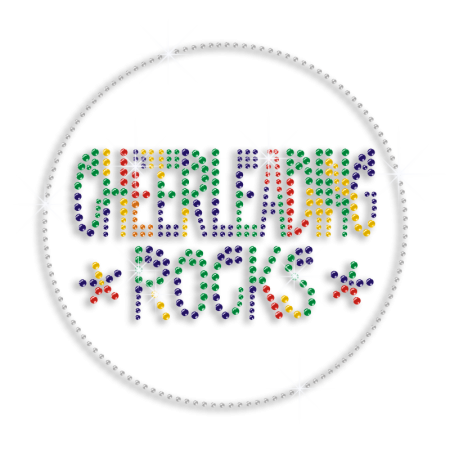 Round Colorful Cheer Leaders Bling Iron on Transfer