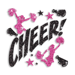 Pink Cheer Leaders with Black Cheer Glitter Iron on Transfer