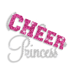 Cute Cheer Princess Rhinestone Glitter Iron-on Transfer for Cheer Leaders