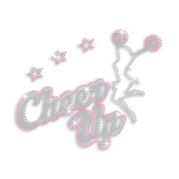 Pink Cheer Up Dancing Girl Iron on Rhinestud Design for Cheer Leaders