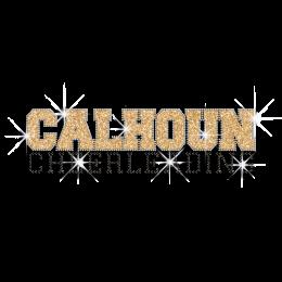 Gold Calhoun Cheerleading Iron on Glitter Rhinestone Transfer