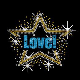 Beautiful Love Cheer Citrine Star Rhinestone Glitter Nailhead Iron on Transfer