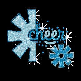 Beautiful Blue Cheer Snowflake Rhinestone Glitter Nailhead Iron on Transfer
