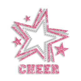 2015 Cute Pink Cheer Star Glitter Rhinestone Iron on Transfer Design