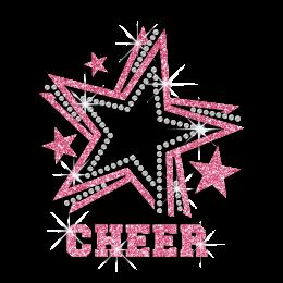 2015 Cute Pink Cheer Star Glitter Rhinestone Iron on Transfer Design