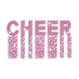 2015 Rose Pink Cheer Hot-fix Rhinestone Transfer