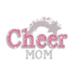 Bling Pink Cheer Mom Stars Rhinestone Glitter Nailhead Iron on Transfer