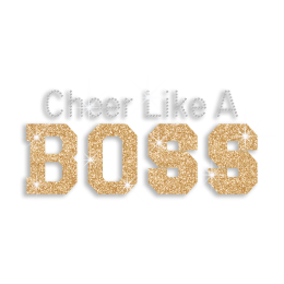 Bling Cheer Like A Boss Rhinestone Glitter Hotfix Transfer