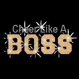Bling Cheer Like A Boss Rhinestone Glitter Hotfix Transfer