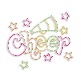 Colorful Cheer with Horn & Stars Neon Studs Iron-on Transfers