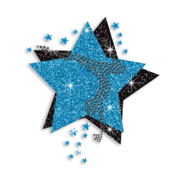 Teal & Black Cheer Stars Iron-on Glitter Rhinestone Transfers