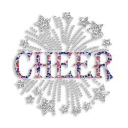 Trendy Cheer Pom-pom Hotfix Glitter Sequin Iron-on Transfer