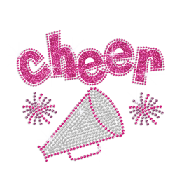 Rose Pink Cheer from Bling Trumpet Iron-on Glitter Rhinestone Transfer