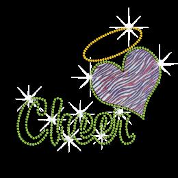 Spring Green Cheer heart Iron-on Bling Glitter Rhinestone Transfer