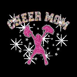 Hot Dancing Cheer Mom Heat Press Bling Glitter Rhinestone Transfer