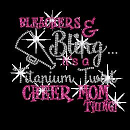 Pink Cheer Mom Iron-on Rhinestone Glitter Transfer Motif