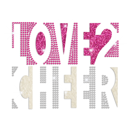 Love 2 Cheer Iron-on Rhinestone Glitter Transfer Motif