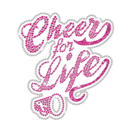 Pink Cheer for Life ISS Show Heat Press Rhinestone Glitter Transfer Motif